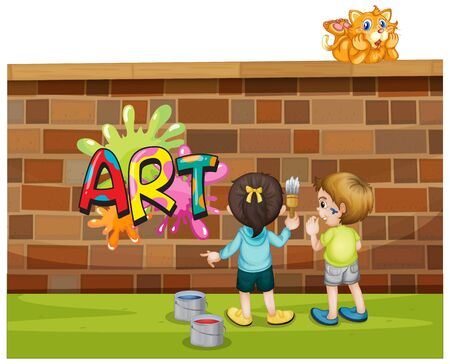 Font design for word art with kids painting on the wall illustration  イラスト・ベクター素材