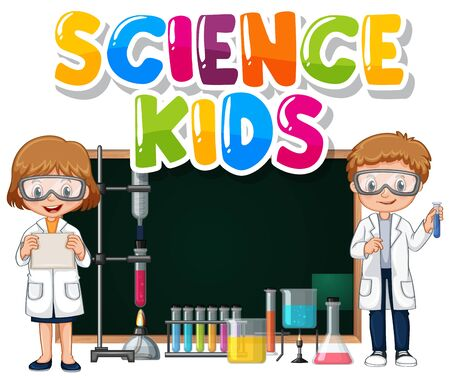 Font design for word science kids with children in science lab illustration