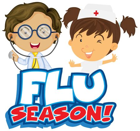 Font design for word flue season with nurse and doctor illustration