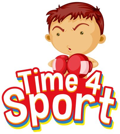 Font design for word time for sport with boy in boxing clothes illustration  イラスト・ベクター素材