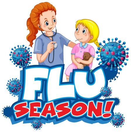 Font design for word flu season with doctor and little girl illustration