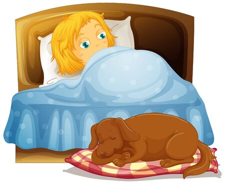 Scene with little girl sleeping in bed with pet dog illustration  イラスト・ベクター素材