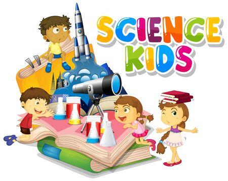 Conception de polices pour les enfants de la science des mots avec des enfants heureux en arrière-plan illustration