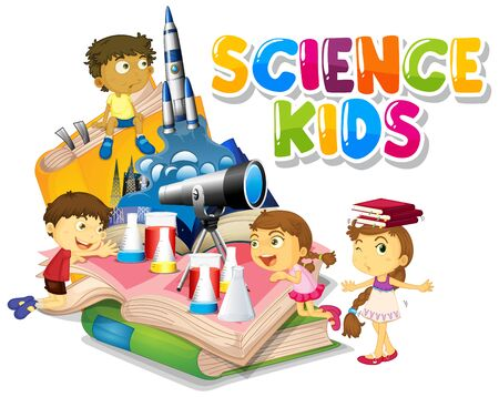 Font design for word science kids with happy children in background illustration