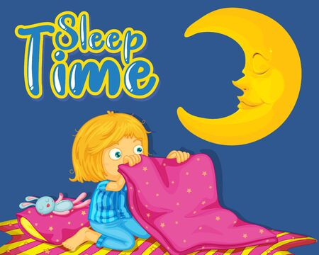 Font design for word sleep time with girl sleeping at night illustration