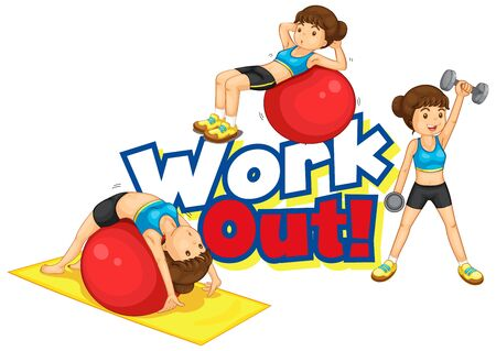 Font design for word work out with girl doing many sports illustration  イラスト・ベクター素材