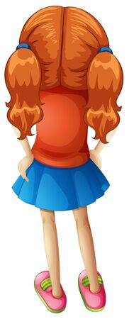 Back of little girl with red hair on white background illustration  イラスト・ベクター素材