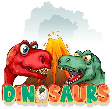 Font design for word dinosaurs with two t-rexes illustration Ilustração