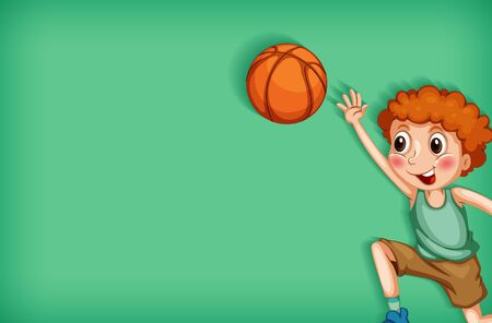 Background template design with boy playing basketball illustration  イラスト・ベクター素材