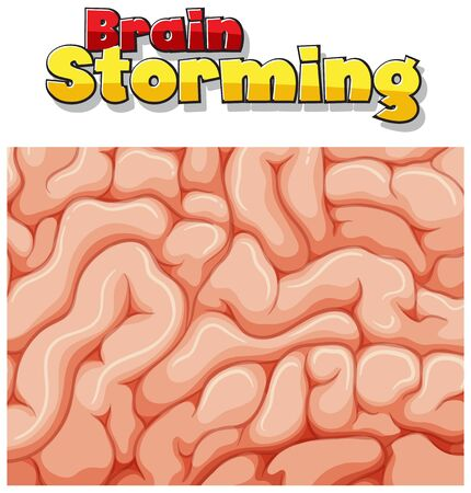 Font design for word brain storming with brain in background illustration 向量圖像