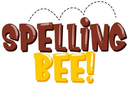 Sticker design for word spelling bee in brown and yellow color illustration