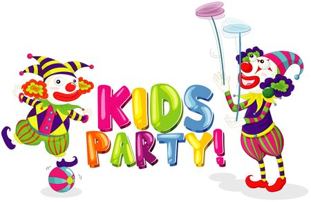 Font design for word kids party with two clowns on white background illustration
