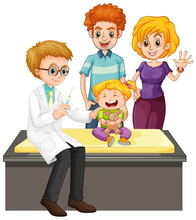 Scene with doctor and girl doing health check up  illustration