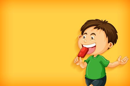 Background template design with boy eating popsicle illustration