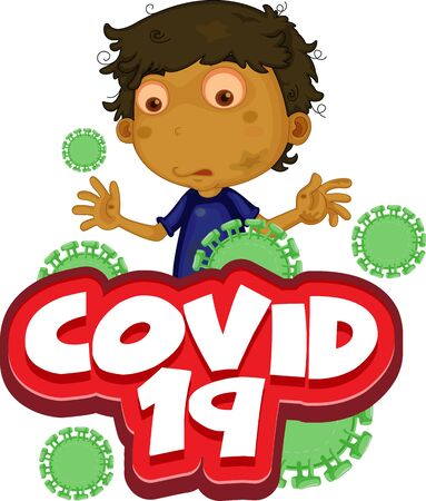 Font design for word covid 19 with sick boy illustration