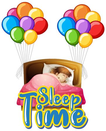 Font design for word sleep time with girl in bed illustration
