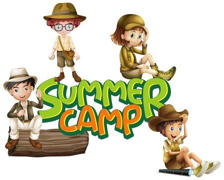 Font design for word summer camp with kids in scout uniform illustration