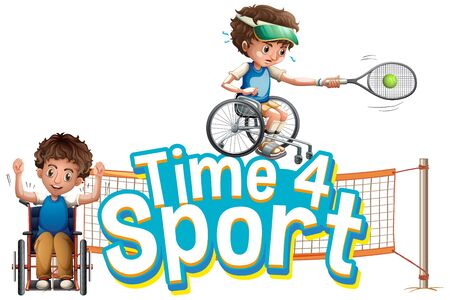 Font design for word time for sport with kids playing tennis illustration