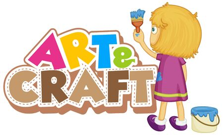 Font design for word art and craft with girl painting on the wall illustration