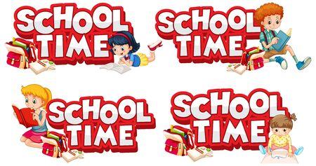 Font design for word school time with happy kids illustration Vektorgrafik