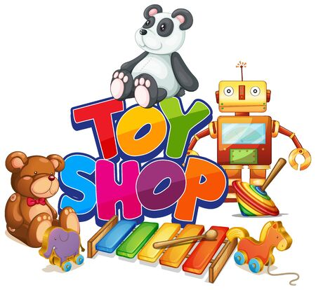Font design for word toy shop with many toys in background illustration