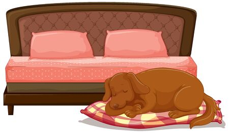 Scene with dog sleeping on the pet bed illustration