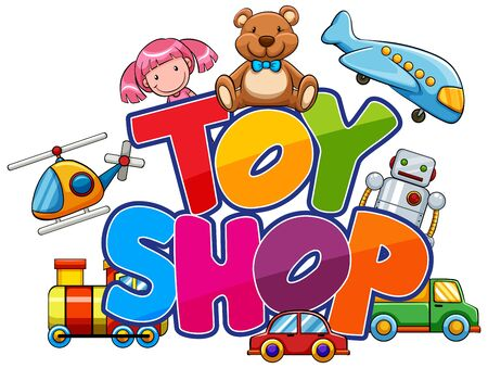 Font design for word toy shop with many toys illustration 向量圖像