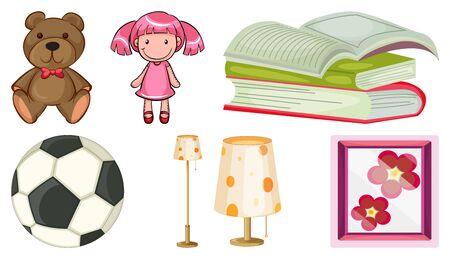 Large set of many items on white background illustration 向量圖像