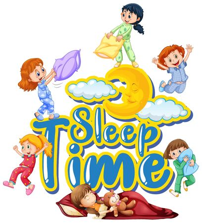 Font design for word sleep time with many kids in bed illustration