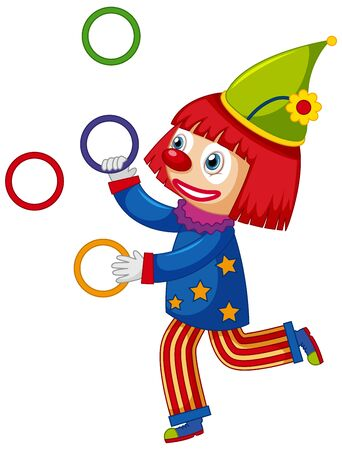 Happy clown juggling colorful rings on white background illustration