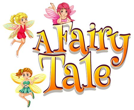 Font design for word fairy tale with many fairies flying illustration 向量圖像