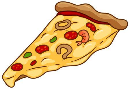 One slice of pizza on white background illustration