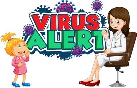 Font design for word virus alert with girl and doctor on white background illustration Ilustrace