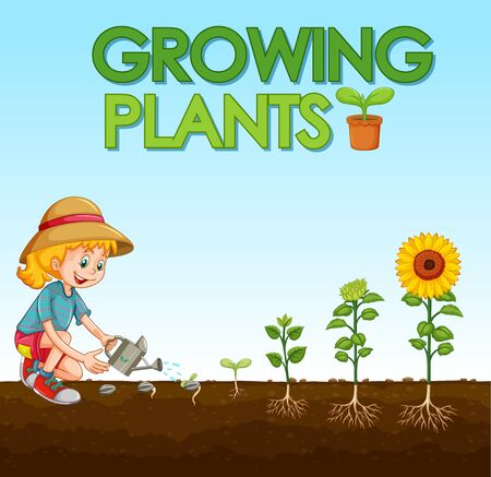 Scene with kid planting trees in the garden illustration Ilustración de vector