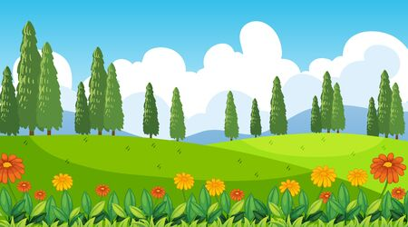 Nature scene background with flowers on the hills illustration