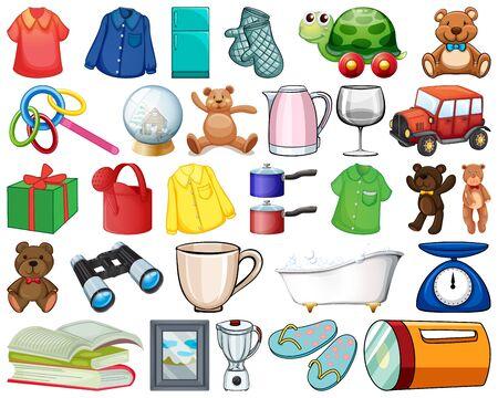 Large set of household items and many toys on white background illustration 向量圖像