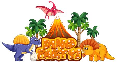 Font design for word dino party with many dinosaurs in forest illustration 向量圖像