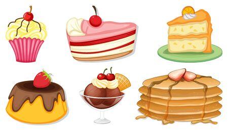 Big set of different menu for desserts on white background illustration 向量圖像