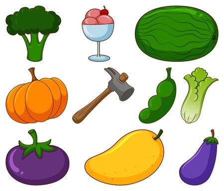 Large set of different food and other items on white background illustration 向量圖像