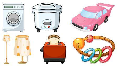Large set of appliances on white background illustration 向量圖像