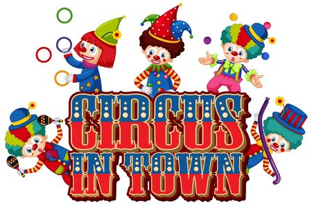 Font design for word circus in town with many clowns illustration