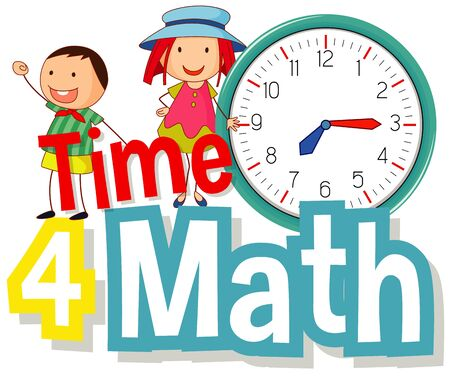 Word design for time 4 Math with happy kids illustration Иллюстрация