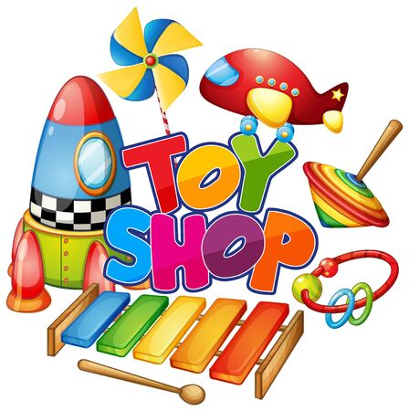 Font design for word toy shop with many toys on white background illustration 向量圖像