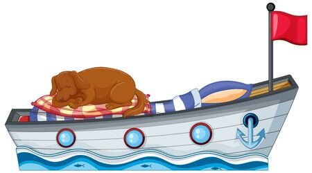 Scene with little dog sleeping on the boat bed illustration