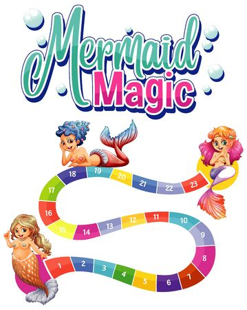 Game template with three mermaids and numbers illustration