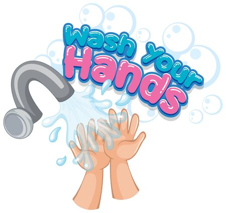 Wash your hands poster design with hands and water illustration