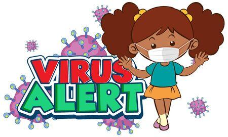 Coronavirus poster design with word virus alert and girl wearing mask illustration