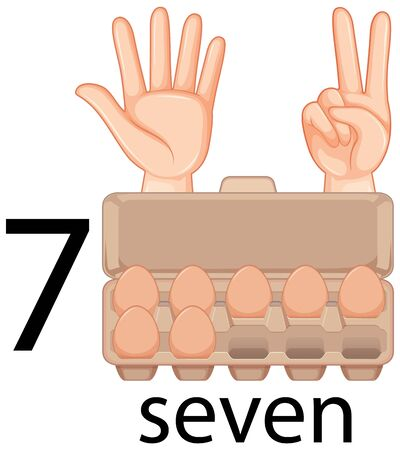 Counting number seven with eggs in carton illustration