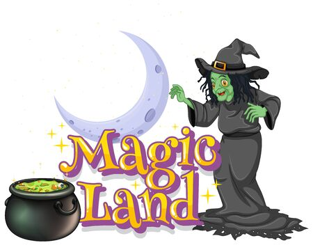 Font design for word magic land with green witch and magic brew illustration
