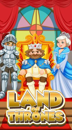 Font design for word land of thrones with king  illustration